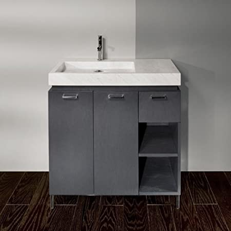 "Lacava Wooden vanity base with polished stainless steel legs, 32""W, 18""D, 31""H Natural Zebra Stone"