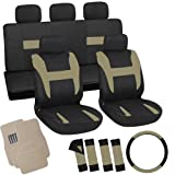 OxGord 21pc Black & Tan Flat Cloth Seat Cover and Carpet Floor Mat Set for the Hyundai Elantra Coupe, Airbag Compatible, Split Bench, Steering Wheel Cover Included