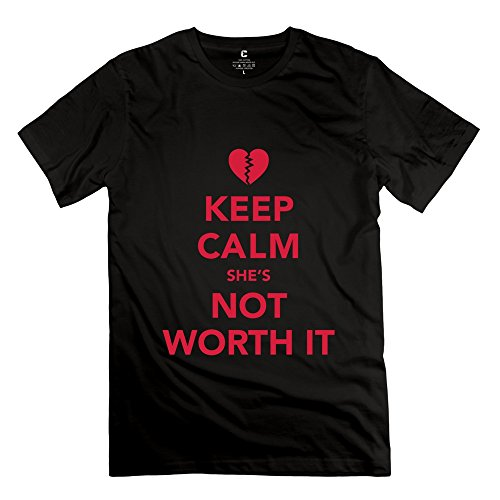 Ruifeng Man Keep Calm Shes Worth It T-Shirt - M Black
