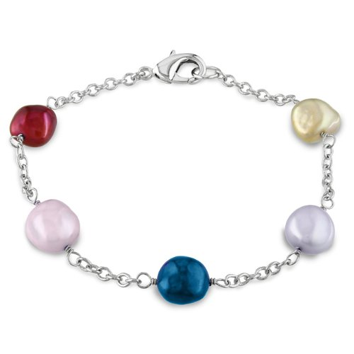 Brass Freshwater Multi-colored Irregular Pearl Chain and link Bracelet