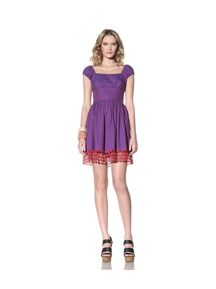 Anna Sui Women's Cap Sleeve Dress with Lace Hem