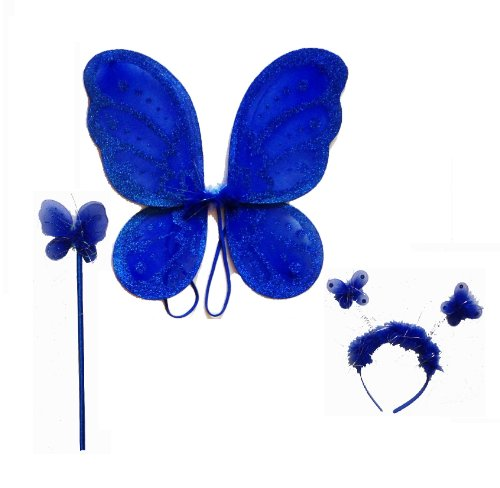 LolaSaturdays 3 Pc Set Royal Blue Fairy Princess Butterfly Angel Costume Wings