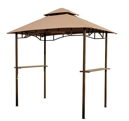 New Outdoor Patio Outsunny Coffee Color 8'Lx5'Wx8.4'H BBQ Grill Canopy Tent