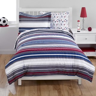 Boys/Teen Red, White, Grey And Blue Stripes Comforter Set (Full)