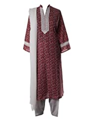 Red Mini Floral Printed And Resham Laced Kameez Complimented With White Salwar And White Duppatta