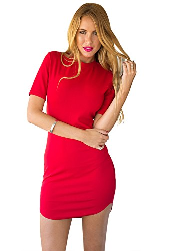 Lookbook Store® Women's Red Short Sleeves Knee Length Casual Club Bodycon Dress US 2