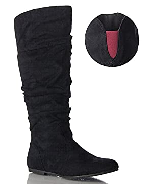 ROF Women's Basic Slouchy Knee High Flat Boot BLACK WINE SUEDE (10)