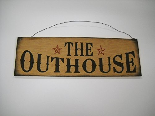 Best The Outhouse Country Bathroom Hand Stenciled Wooden Wall Art Sign Bath Decor