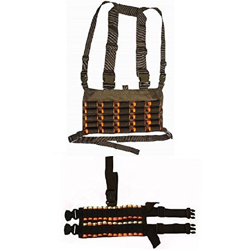Ultimate Arms Gear Tactical Shotgun Package Holds 49 Shells Includes: OD Olive Drab Green Chest Rig 25 Round 12 & 20 GA Gauge Elastic Shotgun Shotshell Cartridge Ammunition Holder Hunting Harness Vest with Hidden Internal Document Map Utility Pocket + 24 Shell Ammo Reload Carrier Thigh Dropleg Black Ambidextrous Adjustable Length Dual Drop Leg Straps (Soe Micro Rig compare prices)