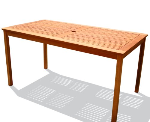 VIFAH V98 Outdoor Wood Rectangular Table, Natural Wood Finish, 59 by 35 x30-Inch