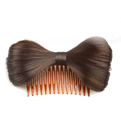 Hair Extension Bowknot Comb Clip Fashion Hairpiece Party New,browncolor