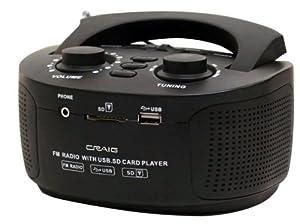 Craig Portable FM Radio with USB/SD Slot, Black