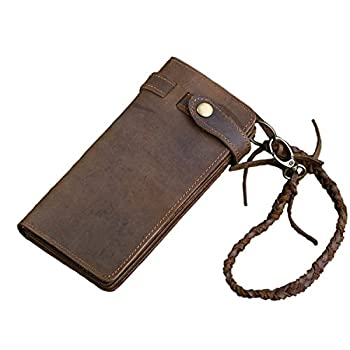 Horse Noise - Long Biker Wallet From Crazy Horse Leather with Leather Security Chain Vintage