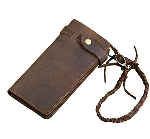 Horse Noise - Long Biker Wallet From Crazy Horse Leather with Leather Security Chain Vintage 0