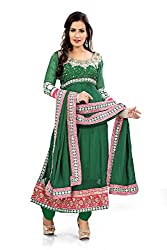 Priyanshu Creation Women's Georgette Green Dress Material