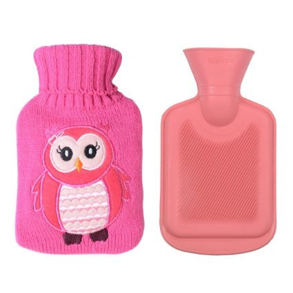 Children's Rubber Hot Water Bottle w/ Cute Knit Cover (500ML, Pink / Pink Owl) (Small Hot Water Bag compare prices)