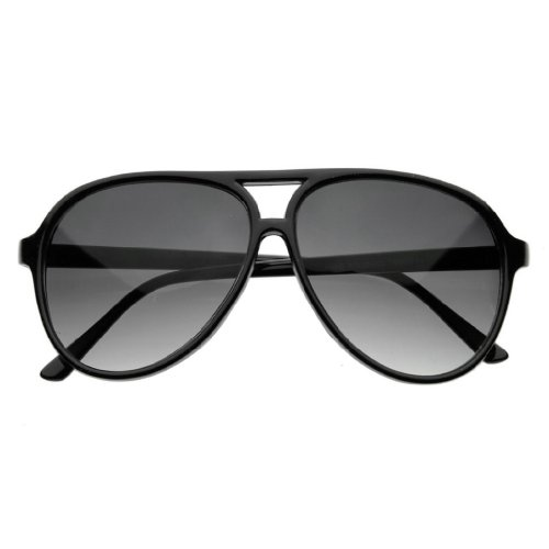Zoom-Classic-Sunglasses-Plastic-Aviator-Tear-Drop-Shape-with-Double-Brow-Black-FramesSmoke-Lenses-Large