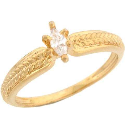 10k Yellow Gold Marquise CZ Promise Ring With Pretty Detail On Band