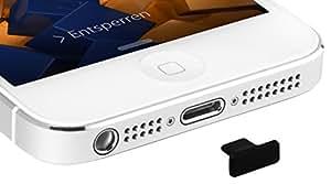 mumbi USB Wasserschutz Stöpsel Staubschutz für iPhone 5 5S - Lightning Schutzkappe iPhone 5 5S in schwarz