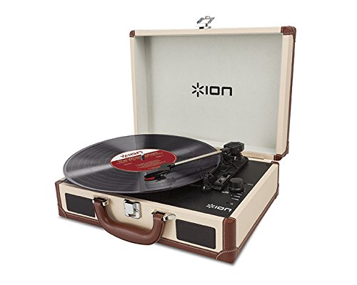 Why Choose ION Audio Vinyl Motion Deluxe | Portable 3-Speed Belt-Drive Suitcase Turntable with Built...