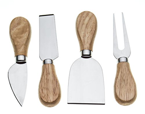 Bekith 4 Pcs Travel Cheese Knives Set,Cheese Knife,Shaver,Fork and Spreader,Wooden Handle