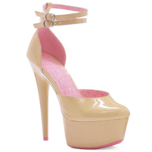 ELLIE SHOES 212122 Pink Ribbon Cancer Awareness Nude Platform Shoes Tan Women and s 8