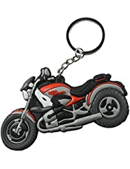 Techpro Soft Rubber Keychain Double Sided With Red Royal Enfield Bike Design