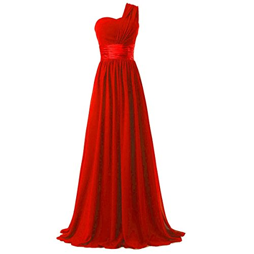 Ouman Women's Chiffon One Shoulder Bridesmaids Dresses XX-Large Red