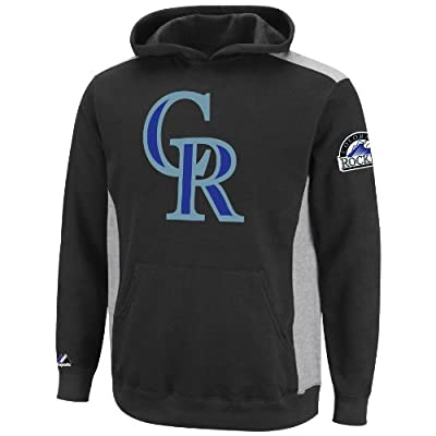 MLB Colorado Rockies Lil Catcher Black/Steel Heather Long Sleeve Hooded Youth Fleece Pullover