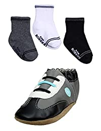 Baby / Infant Boys Robeez Rodney Grey Sneaker Shoes and Socks by Robeez