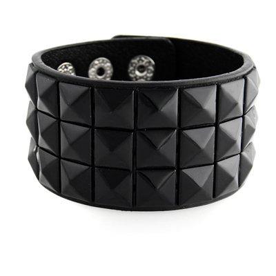 New Triple and Double Studded Punk Rock Wristband Bracelets Black