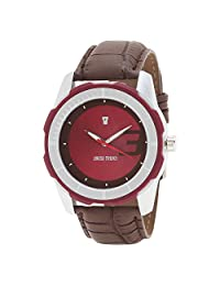 Swiss Trend Fresh Design Mens Wrist Watch With Red Dial And Brwon Leather Strap