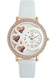DFa Rose Gold White Heart Dial White Leather Strap analog Watch for Girls -DFa004