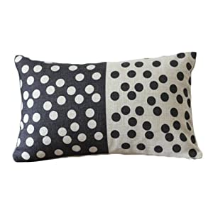 Rectangular Throw Pillow Covers : Amazon.com - Black and White Dots Rectangular Throw Pillow Covers 30CMx45CM Lumbar Cushions ...