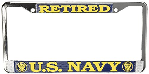US Navy Retired License Plate Frame (Chrome Metal) (License Plate Frames Military compare prices)