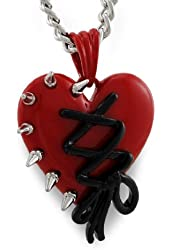 Corset Laced/Chrome Spikes Red Heart Pendant Necklace 18 in. Chain