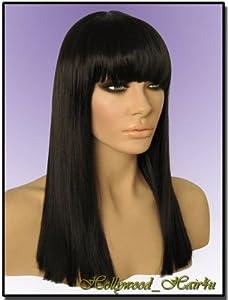 Hollywood_hair4u - Straight Long #2 Brown Black Mix Wig with Bangs Kanekalon Heat Resistant Synthetic Fiber Skin Top *NEW*