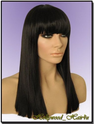 Hollywood_hair4u - Straight Long #2 Brown Black Mix Wig with Bangs Kanekalon Heat Resistant Synthetic Fiber Skin Top *NEW*