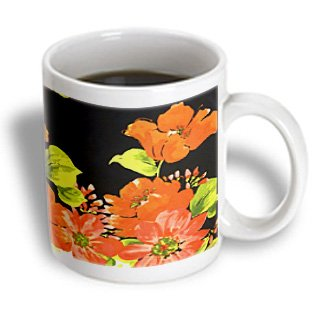 Florene Floral Abstract - Vivid Painting Of Orange Red Poppies On Black - 11Oz Mug (Mug_51515_1)