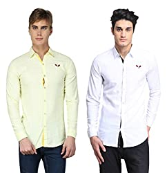 BRAVEZI Men's Yellow & White Solid Casual Slim Fit Shirt