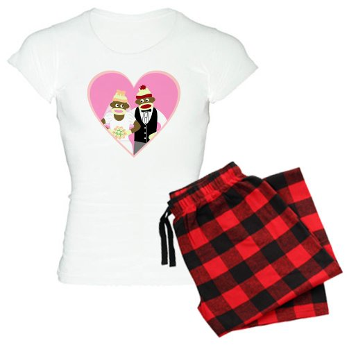 CafePress Sock Monkey Wedding Women's Light Pajamas Women's Light Pajamas