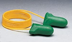 Low Pressure Foam Ear Plugs, Corded, Green, 1 Box of 100 Pairs,14325