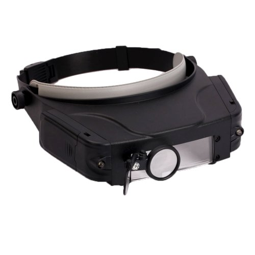 Led Light Lighted Headband Head Band Headset Headlamp Magnifier Magnifying Glass Jeweler'S Jewelry Loupe With Sunshield