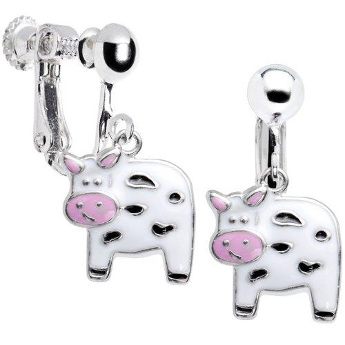 Moo Moo Cow Clip On Earrings