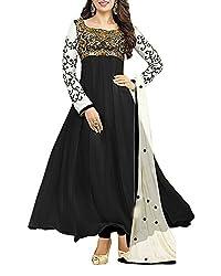 Surat Dream Women's Georgette Unstitched Dress Material(EC109, Black)