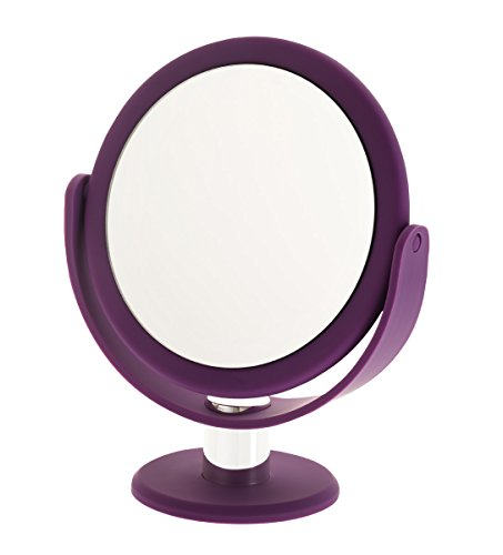 Danielle Enterprises Soft Touch 10X Magnification Round Vanity Mirror, Purple front-235489