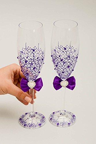 wedding chagne glasses handmade wedding decor painted wine