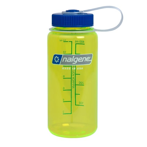 Nalgene Wide Mouth Water Bottle, Safety Yellow, 1-Pint front-641338