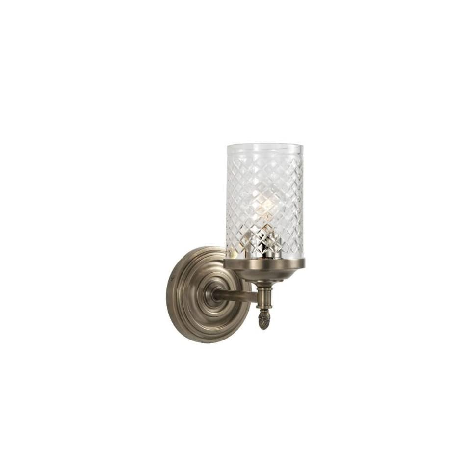 Hampton 1 Light Lita Single Sconce in Antique Nickel with Crystal