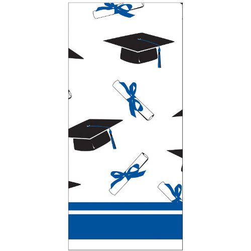 Creative Converting School Colors Paper Art Square Graduation Party Plastic Table Cover, True Blue